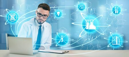 Medical Healthcare Research and Development Concept. Doctor in hospital lab with science health research icon show symbol of medical care technology innovation, medicine discovery and healthcare data. Stok Fotoğraf