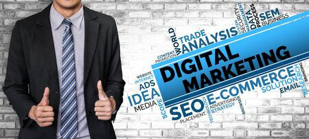 Digital Marketing Technology Solution for Online Business Concept - Graphic interface showing analytic diagram of online market promotion strategy on digital advertising platform via social media.