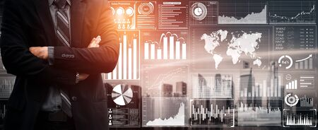 Data Analysis for Business and Finance Concept. Graphic interface showing future computer technology of profit analytic, online marketing research and information report for digital business strategy.