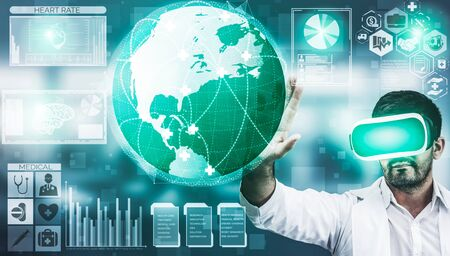 Medical Healthcare Research and Development Concept. Doctor in hospital lab with science health research icon show symbol of medical care technology innovation, medicine discovery and healthcare data. Imagens