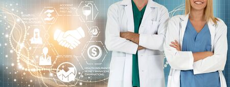 Medical Healthcare Concept - Doctor in hospital with digital medical icons graphic banner showing symbol of medicine, medical care people, emergency service network, doctor data of patient health. Imagens