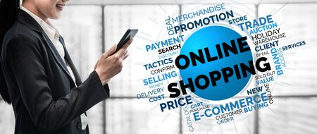 Online shopping and Internet Money Payment Transaction Technology. Modern graphic interface showing e-commerce retail store for customer to purchase product on the website and pay by online transfer. Stok Fotoğraf