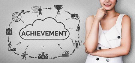 Achievement and Business Goal Success Concept - Creative business people with icon graphic interface showing employee reward giving for business success achievement. Stok Fotoğraf