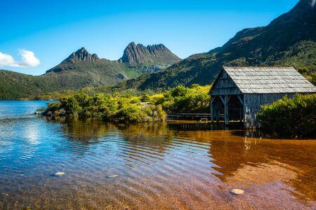 Beautiful scene of Cradle mountain peak from Dove lake in Cradle Mountain National Park, Tasmania, Australia. Stockfoto