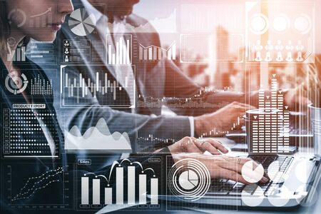 Big Data Technology for Business Finance Analytic Concept. Modern graphic interface shows massive information of business sale report, profit chart and stock market trends analysis on screen monitor. Stok Fotoğraf
