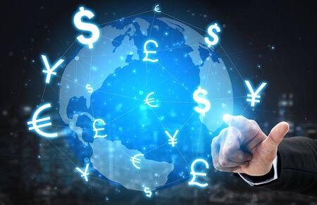 Währungsumtausch Global Foreign Money Finance - Internationaler Devisenmarkt mit verschiedenen Weltwährungssymbolkonvertierungen.