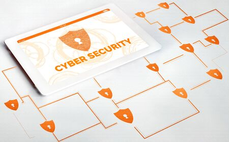 Cyber Security and Digital Data Protection Concept. Icon graphic interface showing secure firewall technology for online data access against hacker, virus and insecure information for privacy.