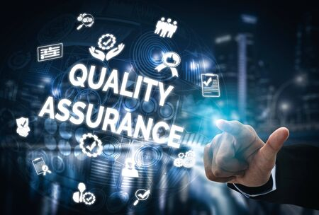 Quality Assurance and Quality Control Concept - Modern graphic interface showing certified standard process, product warranty and quality improvement technology for satisfaction of customer. Stock Photo