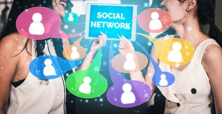 Social media and young people network concept. Modern graphic interface showing online social connection network and media channels to engage customer interaction in the digital business. Stock Photo