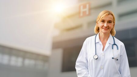 Senior woman doctor working in the hospital. Medical healthcare and doctor service. Stok Fotoğraf
