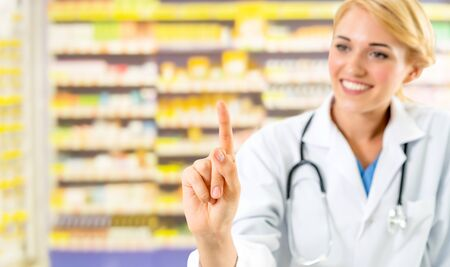 Woman pharmacist working at pharmacy. Medical healthcare and doctor staff service. Stok Fotoğraf