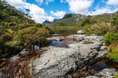 Beautiful scene of Cradle mountain peak from Dove lake in Cradle Mountain National Park, Tasmania, Australia. 写真素材
