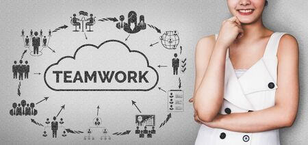 Teamwork and Business Human Resources - Young successful business woman with teamwork graphic concept.