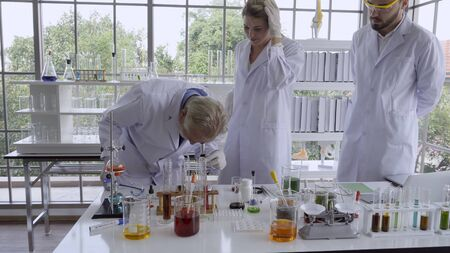 Scientist work with science equipment in laboratory. Scientific experiment and education for research development concept. 스톡 콘텐츠