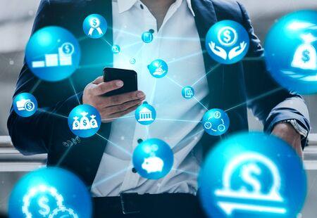 Concepto de tecnología de transacciones de dinero y finanzas. Icono Interfaz gráfica que muestra el intercambio comercial de tecnología financiera, el análisis de estadísticas de ganancias y el servicio de analista de mercado en una aplicación informática moderna.