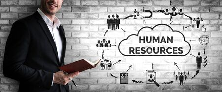 Human Resources Recruitment and People Networking Concept. Modern graphic interface showing professional employee hiring and headhunter seeking interview candidate for future manpower.
