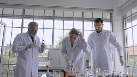 Scientist work with science equipment in laboratory. Scientific experiment and education for research development concept. Stok Fotoğraf