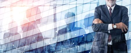 Double Exposure Image of Success Business People on abstract modern city background. Future business and communication technology concept. Surreal futuristic multiple exposure graphic interface. 写真素材
