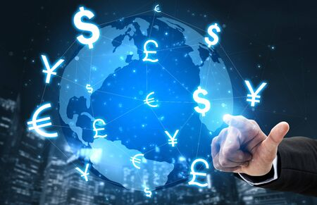 Currency Exchange Global Foreign Money Finance - International forex market with different world currency symbol conversion.