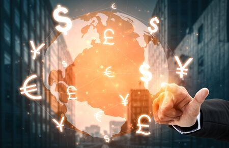 Currency Exchange Global Foreign Money Finance - International forex market with different world currency symbol conversion. Stock Photo