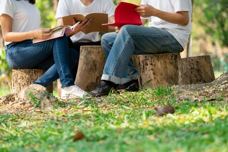Team of young students studying in a group project in the park of university or school. Happy learning, community teamwork and youth friendship concept.