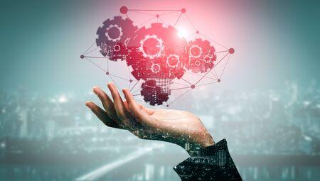 Tecnología de innovación para el concepto de finanzas empresariales. Interfaz gráfica moderna que muestra el símbolo del pensamiento de ideas innovadoras, estudio de investigación y desarrollo.