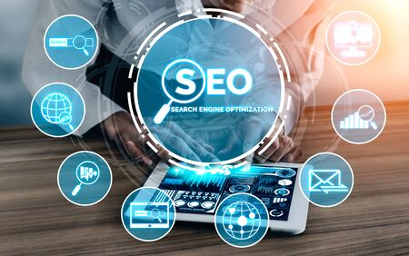 SEO - Search Engine Optimization for Online Marketing Concept. Modern graphic interface showing symbol of keyword research website promotion by optimize customer searching and analyze market strategy. Stok Fotoğraf - 132922166