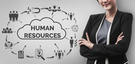 Human Resources Recruitment and People Networking Concept. Modern graphic interface showing professional employee hiring and headhunter seeking interview candidate for future manpower. Stok Fotoğraf - 133036498