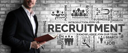 Human Resources Recruitment and People Networking Concept. Modern graphic interface showing professional employee hiring and headhunter seeking interview candidate for future manpower. Stok Fotoğraf - 132921775