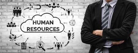 Human Resources Recruitment and People Networking Concept. Modern graphic interface showing professional employee hiring and headhunter seeking interview candidate for future manpower. Stok Fotoğraf - 133036174