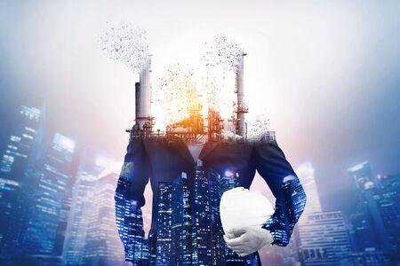 Gevaar voor luchtvervuiling door conventionele energie-industrie veroorzaakt problemen voor het wereldmilieu, zoals de opwarming van de aarde. Concept van verandering en verstoring van het tijdperk van de oude giftige vervuilende fabriek.
