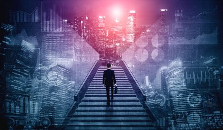 Ambitious business man climbing stairs to meet incoming challenge and business opportunity. The high stair represents the concept of career path success, future planning and business competitions. Imagens