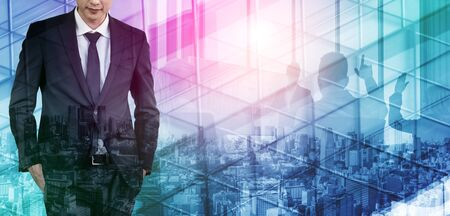 Double Exposure Image of Success Business People on abstract modern city background. Future business and communication technology concept. Surreal futuristic multiple exposure graphic interface. Standard-Bild - 138031676