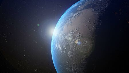Realistic earth planet with sunrise at the horizon by 3d rendering graphic. Globalization and people network concept.