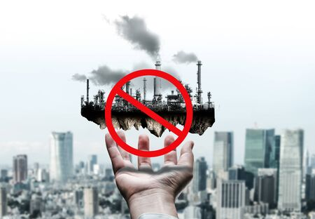 Ban of air pollution from conventional power industry causes problem to world environment such as global warming. Concept of change and disruption to the era of old toxic polluting factory. Zdjęcie Seryjne