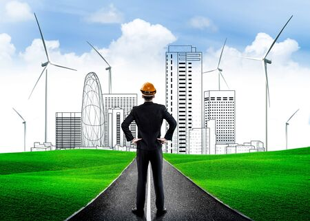 Green city environmental friendly development - Businessman leader with vision to build future eco city.
