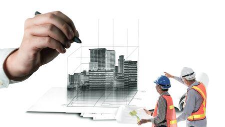 Planification civile de la ville et développement immobilier - Des architectes regardant un dessin abstrait de la ville pour concevoir un futur bâtiment créatif de la ville. Concept de rêve et d'ambition d'architecture.