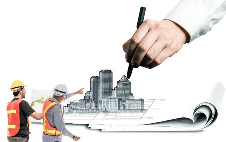 City civil planning and real estate development - Architect people looking at abstract city sketch drawing to design creative future city building. Architecture dream and ambition concept.