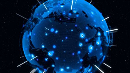 3D Digital Earth shows concept of global network connection of international people in global business rotating in stars and space background. Modern information technology and globalization concept.