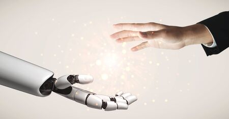 3D rendering artificial intelligence AI research of robot and cyborg development for future of people living. Digital data mining and machine learning technology design for computer brain. Stock Photo