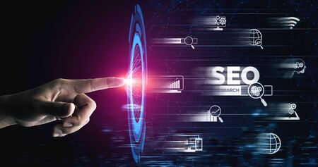 SEO - Search Engine Optimization for Online Marketing Concept. Modern graphic interface showing symbol of keyword research website promotion by optimize customer searching and analyze market strategy. Archivio Fotografico