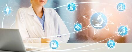 Medical Healthcare Research and Development Concept. Doctor in hospital lab with science health research icon show symbol of medical care technology innovation, medicine discovery and healthcare data. Stock Photo