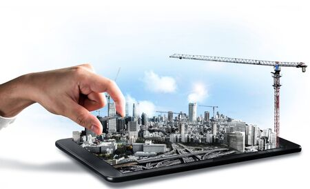 Innovative architecture and civil engineering building construction project. Creative graphic design showing concept of infrastructure city building by professional architect, worker and engineer.