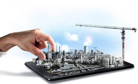 Projet de construction de bâtiments innovants en architecture et génie civil. Conception graphique créative montrant le concept de construction de la ville d'infrastructure par un architecte, un travailleur et un ingénieur professionnels.