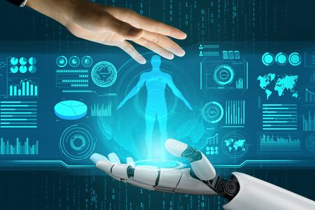 3D Rendering futuristic robot technology development, artificial intelligence AI, and machine learning concept. Global robotic bionic science research for future of human life. Banque d'images