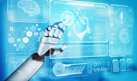 将来の病院で働く医療人工知能ロボットを3Dレンダリング。患者および生物医学技術の概念のための未来的な義足のヘルスケア。