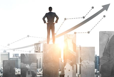 Double Exposure Image of Business and Finance - Businessman with report chart up forward to financial profit growth of stock market investment. Standard-Bild