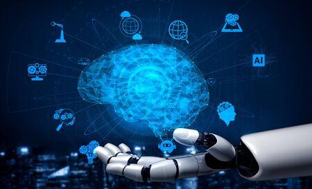 Rendu 3D de la recherche en intelligence artificielle sur le développement de robots et de cyborgs pour l'avenir des personnes vivant. Conception de technologies d'exploration de données numériques et d'apprentissage automatique pour le cerveau de l'ordinateur.