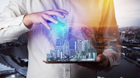 Modern creative telecommunication and internet network connect in smart city. Concept of 5G wireless digital connection and internet of things future. Imagens