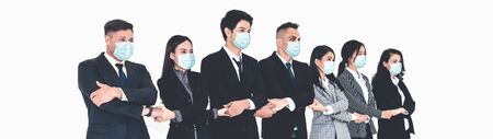 Confident business people with face mask protect from Coronavirus or COVID-19. Concept of help, support and collaboration together to overcome epidemic of Coronavirus or COVID-19 to reopen business. Фото со стока